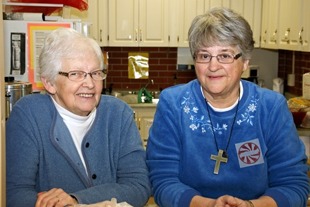Carole Swim and Carolyn Colbourne at Christmas Open House
